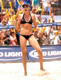 Kerri Walsh Jennings Photos - Kerri Walsh celebrates after scoring a point in the Womens's Final of the 2007 AVP Tour Long Beach Open at the Marina Shores on July 2007 in Long Beach, California. Women Volleyball, Beach Volleyball, Kerri Walsh Jennings, Look Short, Summer Olympics, Woman Beach, Track And Field, Athletic Women, Deporte