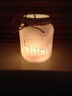 Home sweet home Mason Jar Lamp, Candle Jars, Diy Gifts, Handmade Gifts, Candels, Diy Interior, Bottles And Jars, Shabby Vintage, Recycled Art