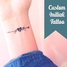 Set of 2 Custom initial arrow temporary tattoo personalized gift - InknArt Temporary Tattoo - fake tattoo wedding tattoo valetines day gift from InknArt Temporary Tattoo - tattoos - Tatouage Fake Tattoos, Arrow Tattoos, Sexy Tattoos, Body Art Tattoos, Small Tattoos, Tatoos, Girl Tattoos, Arrow Heart Tattoo, Small Couples Tattoos