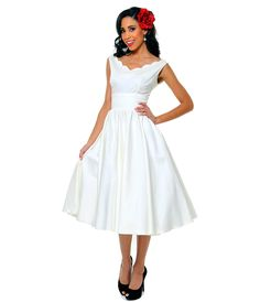 1950s Style Ivory Cotton Sateen Scallop Brenda Swing Dress  #uniquevintage