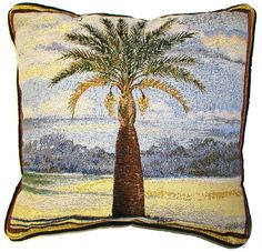 18x18 PALM TREE Tropical Beach Ocean Tapestry Cushion Pillow $25