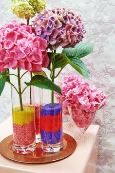Hydrangea Colors, Hydrangeas, One Shoulder Dress Long, Dress Hairstyles, Colorful Flowers, House Colors, Glass Vase, Table Decorations, Color Themes