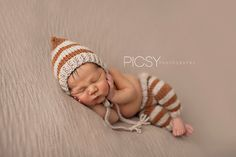 Newborn Photography Prop Fall Newborn Rust & Tan Striped Pixie and Pants by goodnightmouse on Etsy, $67.00