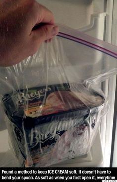 Life-changing hack: Freeze your ice cream in plastic bags! It keeps the ice cream soft and scoop-able