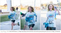 Emilie Berthiaume, 13, Tempe Prep High schooler was among the first few runners to cross the finish line at the Color Run in Tempe on Saturday. She enjoyed it and had a lot of fun running through the course and having color thrown at her. Jan. 24, 2015. Morganroth Photography ©2015
