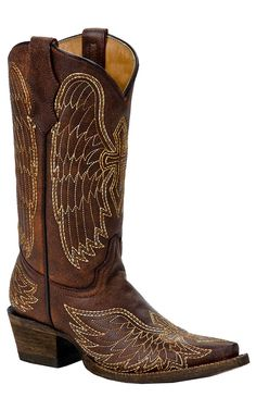 Corral Boot Company® Kids Brown w/ Stitched Winged Cross Snip Toe Western Boots | Perfect for a little girl