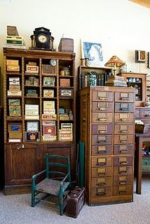 What beautiful old pieces!  i have a card catalog i found this year...yay!