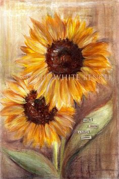 Items similar to Sunflowers. Original Mixed Media Painting. Inspirational Art. Mixed Media Art. on Etsy