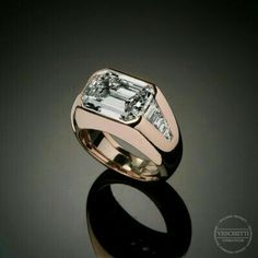 Emerald Cut Rings, Emerald Cut Diamonds, Diamond Rings, Diamond Jewelry, Diamond Cuts, Mens Ring Designs, Engraved Rings, Rings For Men, Mens Gold Rings