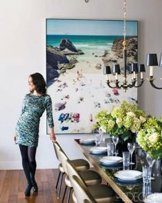 large picture at end of dinning table