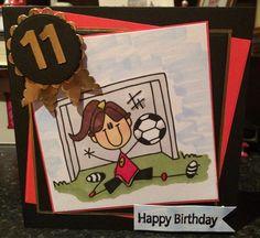 bugaboo digi stamp 11 year old soccer mad girl birthday card Cards Diy, Kids Cards, Girl Birthday Cards, Happy Birthday, Soccer Cards, Girls Soccer, Bugaboo, Digi Stamps, I Card