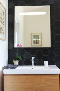 Paint colors that match this Apartment Therapy photo: SW 7710 Brandywine, SW 9097 Soft Fawn, SW 6258 Tricorn Black, SW 7036 Accessible Beige, SW 6238 Icicle Room Tiles, Bathroom Floor Tiles, Wood Bathroom, Bathroom Renos, Modern Bathroom, Bathroom Black, Tiled Bathrooms, Wood Sink, Bathroom Ideas