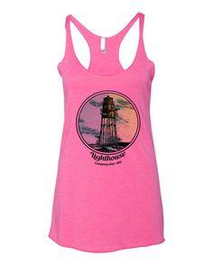 Women's Tri-Blend Racerback Tank Vintage Lighthouse Size XS S M L XL (12 Colors Available)