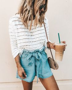 white crew-neck long-sleeved shirt and blue chambray skirt. summer outfits - New Hair Style Spring Summer Fashion, Spring Outfits, Trendy Outfits, Fashion Outfits, Style Summer, Casual Summer, Fashion Ideas, Holiday Outfits For Teens, Classy Summer Outfits