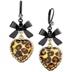 Betsey Johnson Leopard Heart Bow Drop Earrings (2,010 INR) ❤ liked on Polyvore featuring jewelry, earrings, betsey johnson, no color, gold colored earrings, drop earrings, bow earrings, bow jewelry and leopard print jewelry