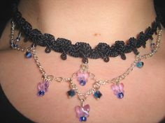 Check out: Crystal Butterfly Choker with Vintage Ribbon by Pepaqua on Etsy, $19.50