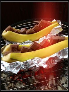 Grilled banana with Milkchocolate. When melted, serve with vanilla ice cream. Sweden 80's