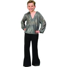 Rg Costumes Boy's Disco Fever Boy Shirt Costume Silver or Gold Silver M 8-10 in Synthetic - Silver, M 8-10