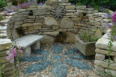 Stacked Stone Surround with Pebble Mosaic