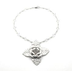 """Get Me To The Church On Time is a 15"""" sterling choker with clear Swarovski crystals and a pure silver hand crafted flower measuring 3 """". Perfect for the bride! Product #304087"""