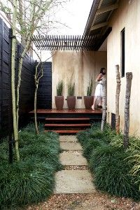 Narrow space side yard on pinterest side yards side garden and landscapes - Upright trees for small spaces concept ...
