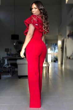 a5803d01221d Emma Red Mesh Sequin Top Jumpsuit Romper Dress