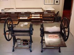 """our 2 medium sized etching presses at the Glasgow Print Studio"""
