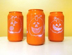 Halloween Craft: 'Can'dle Holders From Aluminum Cans >> http://blog.diynetwork.com/maderemade/how-to/upcycle-this-halloween-candle-holders-from-aluminum-cans/?soc=pinterest