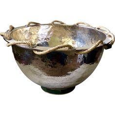 RARE Enormous Emilia Castillo Hand-Hammered Silverplate Bowl with Inlaid Malachite