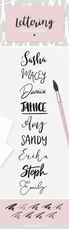 Procreate Brushes for iPad Pro - Hand Lettering, Calligraphy, Watercolor, Glitter, Foil and Marble. How to create hand-lettered quotes, fonts, backgrounds and more with 32 custom Procreate brushes. Includes free practice lettering guides and brush strokes sheets.