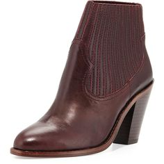 Ash Ilona Leather Chunky-Heel Bootie (205 CAD) ❤ liked on Polyvore featuring shoes, boots, ankle booties, ankle boots, bordeaux, leather booties, short leather boots, high heel booties, slip on boots y stretch leather boots