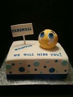 Farewell crying emoji cake