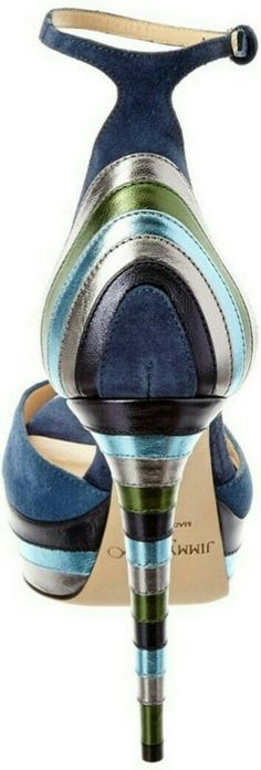 Jimmy Choo blue suede multi color sandal