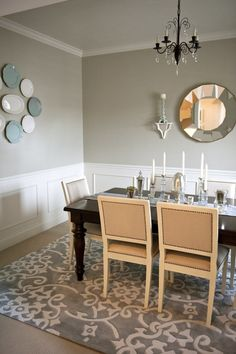 Dining Room: Louis XVI Square Back Chairs with Nailhead Trim
