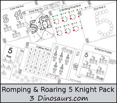 """""""Romping & Roaring"""" Number 5 Knight Pack (free; from 3 Dinosaurs)"""