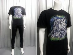 Vintage 1980's White Tiger Print T Shirt Gothic T Shirt Hipster T Shirt Graphic Print Wildlife Animal Wolves American Clothing Classic Rock