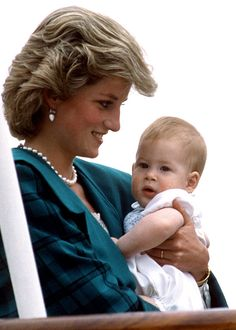 Diana and 7-month old Harry, April 1985