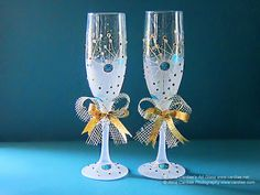 Wedding CHAMPAGNE GLASSES / Two Hand Painted by ArtsyCardiae, $54.00