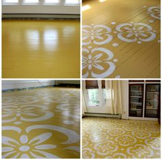 Painted and stencilled yellow and white floral flooring. That's a happy floor.