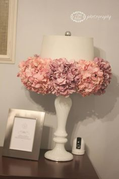 I like the idea of this as a lamp on the hutch, but in different colors that will pop against the pale yellow wall.