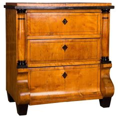 19th Century Original Antique Biedermeier Chest of Drawers Cherrywood Veneer | From a unique collection of antique and modern commodes and chests of drawers at https://www.1stdibs.com/furniture/storage-case-pieces/commodes-chests-of-drawers/