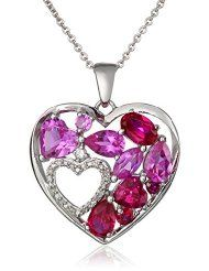 Sterling Silver Created Ruby, Created Pink Sapphire and Created White Sapphire Double Heart Diamond Pendant Necklace $54.34 www.jewelryandwatches.co.za