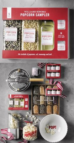 Our boxed gift set includes two hand-selected heirloom varieties of premium popcorn, each prized for its delicate texture and robust corn flavor. The corn is grown in the Midwest by family farmers who specialize in popcorn varieties and harvest th… Popcorn Seasoning, Expensive Gifts, Kitchen Dining, Kitchen Decor, Williams Sonoma, Easy Gifts, Farmers, Gift Baskets, Harvest