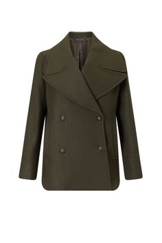 Dark green double-breasted cape coat - coats - coats / jackets