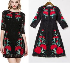 2015 High-End Positioning Embroidered Lace Dress on Luulla