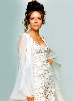 """Diana Rigg lace jumpsuit worn for her wedding to James Bond in """"Her Majesty's Secret Service"""". Emma Peel, Tony Award, Classic Actresses, Female Actresses, Hot Actresses, Jodhpur, James Bond Girls, Diana Riggs, Dame Diana Rigg"""