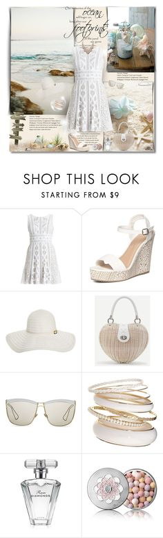 """""""Our memories of the ocean will linger on..."""" by nannerl27forever ❤ liked on Polyvore featuring FOOTPRINTS, BCBGMAXAZRIA, Dorothy Perkins, Melissa Odabash, WithChic, Christian Dior, Avon, Guerlain and Chloe + Isabel"""