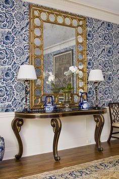 huge mirror & blue/white.