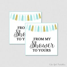 Blue Gold Bridal Shower Favor Tags  Printable - Gold Bridal Shoer Favor Tags - Thank you Tags - From My Shower To Yours 0002B