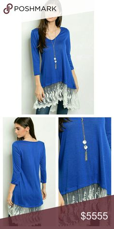 20cf83b078a Royal•Blue•Lace•Tunic Gorgeous royal blue tunic with light ivory colored  lace